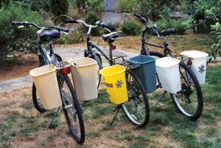 Bike Panniers made with Trash Cans