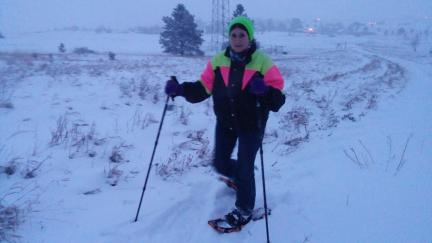 Marna Snowshoeing in Spearfish, SD with Friend 2016-02-02