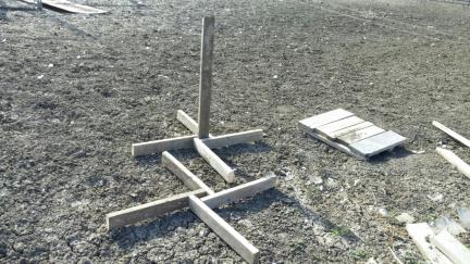 Horse Agility Jump Stands and a Sturdy (unattactive) Practise Pedestal