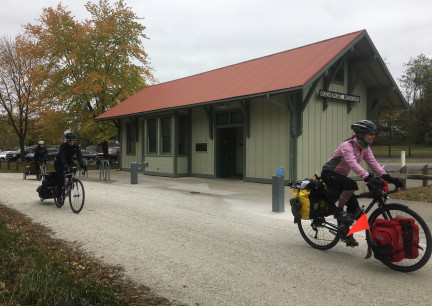 Riders Passing Rocheport Depot 2017-10-27