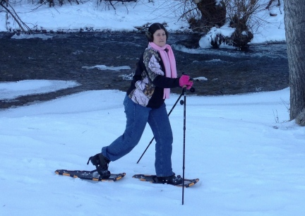 Marna Snowshoeing in Spearfish Park 2015-01-12